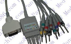 fukuta una sola pieza de ecg 10 derivaciones por cable con