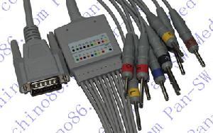 nihon kohden una pieza cable de ecg 10 derivaciones con