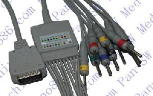 shanghai kohden un cable de ecg pieza con derivaciones