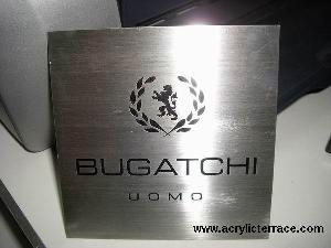 brushed stainless steel logo sign