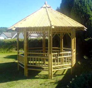 bamboo gazebo fence fountain poles coffee table
