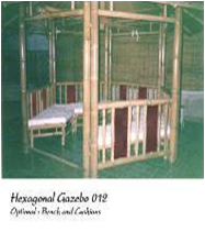 Gazebo From Bamboo And Roof Woth The Bench, Floor And Extra Canvas Roof And Cushions