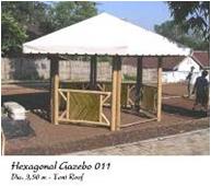 Hexagonal Gazebo Natural Color Tent / Canvas Roof