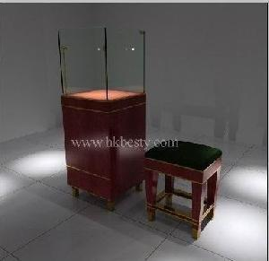 Cherry Wood And Tempered Glass Tower Display Showcase For Jewelry And Store Chair