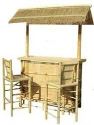 bamboo mini bar thatch roof tiki stool