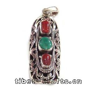 Sterling Silver Coral Turquoise Necklace Pendant