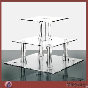 Thickening 3-tier Square Transparent Acrylic Cupcake Display Stand Shelf For Wedding