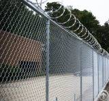 Hot Dipped Galvanized Chain Link Mesh Fencing With Razor Barbed Wire System