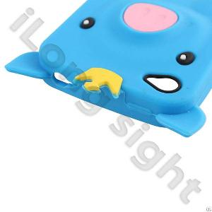Pig Silicone Soft Case Cover Skin For Iphone 4 / 4s-royalblue