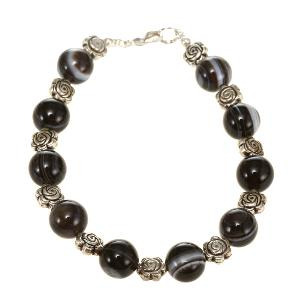 sardonyx agate silver floral bead bracelet