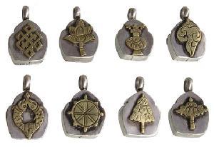 sterling silver buddhist tibetan 8 auspicious symbols pendant