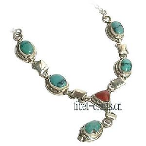 turquoise tibet sterling silver necklace