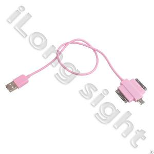 3 In 1 Color Multi-function Data Cable Unt-626 For Ipad3 / 4s / 4g / 3gs / Sam / Micro Usb