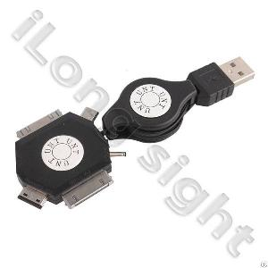 6 In 1 Usb Micro Multi Connector Adapter Cable Usb Wall Charger Adapter Unt-e1 For Iphone4 / Ipad2 /