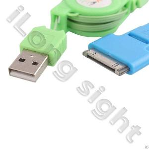 Portable 3-in-1 Usb Retractable Charging / Sync Cable Unt-e07 For Iphone