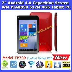 7 Inch Capacitive Screen Android 4.0 Via Wondermedia Wm8850 Cortex A9 1.2ghz New Model Of Via8650