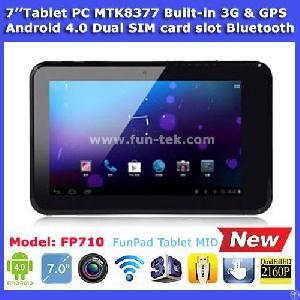 Funpad 7 Inch Mtk8377 3g Tablet Pc Android 4.0 Gps Dual Sim Card Slot Bluetooth 512mb 8g White Black