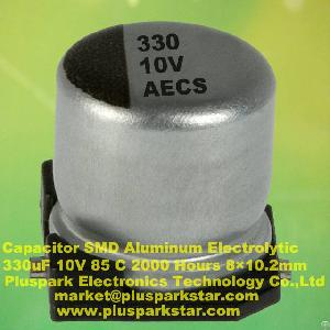 Electrolytic Capacitor Smd 330uf 10v 85c 2000 Hours, 20%, -20%, M