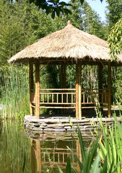 bamboo pergola exotic tropical pergolas thatch roof garden outside