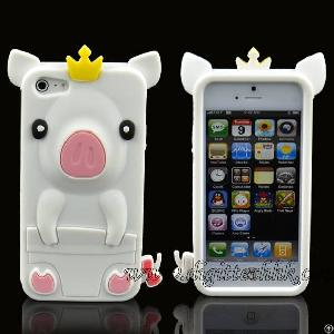 White Cute Pig Pattern Soft Silicone Gel Case Protector Cover For Iphone5