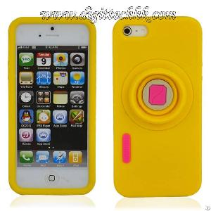 Yellow Camera Pattern Soft Silicone Case Cover Skin Protector For Iphone 5