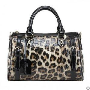 Fashion Leopard Leather Handbag Vintage Women Bags