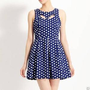 Western Style Cut Out Polka Dotted Dress Deep Blue