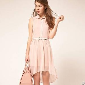 academy irregular sleeveless pieces dress pink