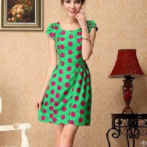Western Elegant Dots Short Sleeve Green Chiffon Dresses