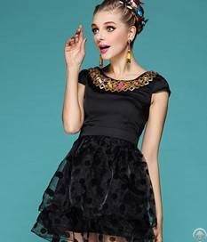 Short Sleeve Polka Dotted Dresses Black