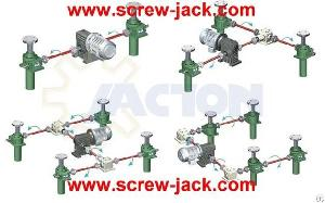 25 Ton Heavy Duty Multiple Screw Jacks Lifting System, Screw Gear Lift Table Height 1600 Mm Stroke