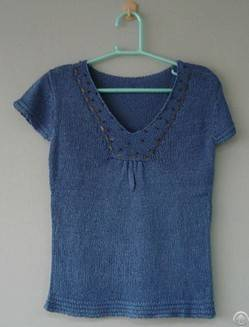 Ladies Knitted Short Sleeve Sweater With Nylon / Acrylic In China