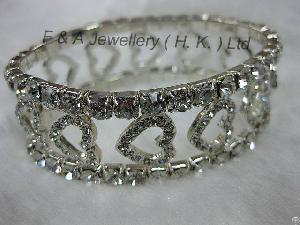 Stretchy Bracelet, Clear Crystals, Silver Plated, Claw, Heart Shape