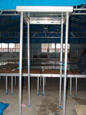 al stage plywood plexiglass cover hoist legs
