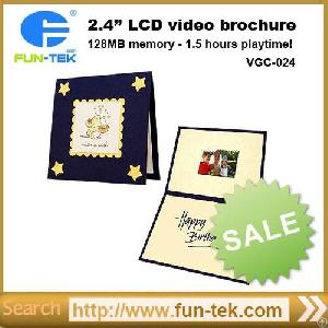 Factory 2.4 Inch Lcd Invitation Brochure Video Greeting Card 128mb Memory