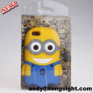 Hot Newest 3d Despicable Me Minions Silicone Soft Case Cover For Iphone 4s