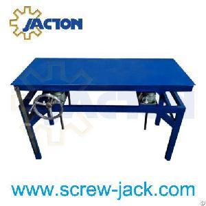 crank handle worm drive lift desk hand wheel multiple screw jacks platform table