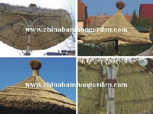 bamboo umbrella thatch reed grass stick roof
