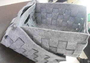 Duo Color Handmade Felt Woven Storage Basket