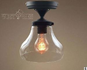 Modern Vintage Black Glass Ceiling Hanging Lamp Shade Mini Simple Aisle Light