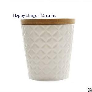 engraved ceramic candle jars bamboo lid cups