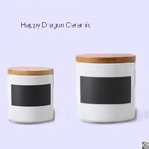 ceramic candle containers bamboo lid jars