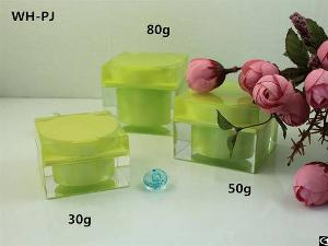 30g 50g 80g Square Plastic Jar, Double Wall Cosmetic Jar