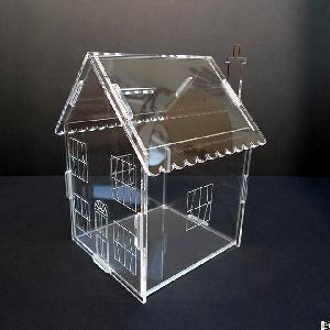 Fashion Clear Acrylic House Money Savings Petty Cash Box Piggy Bank Made In China