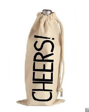 Cotton Bottle Bag / Wine Bags / Velvet Drawstring Bottle Pouch