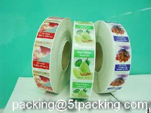 green healthy plastic adhesive labels fruits