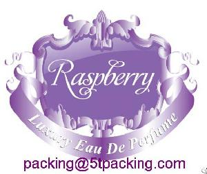 Raspberry Purple Embossed Luxury Perfume Bottle Labels