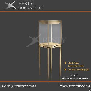 Luxury Besty Metal Tower Showcase With Rotate Led