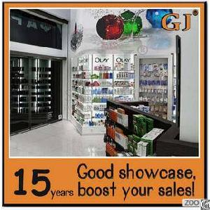 Custom Steel Glass Corner Display Shelf Wall Fixture Space-saved Medicine Show Cabinet