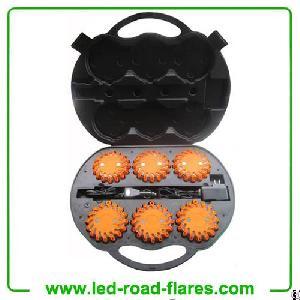 Six 6-pack Rechargeable Led Road Flares Amber Orange Led Light